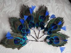 6 bridesmaids peacock bobby pins hair clips by DressMyWedding, $53.00