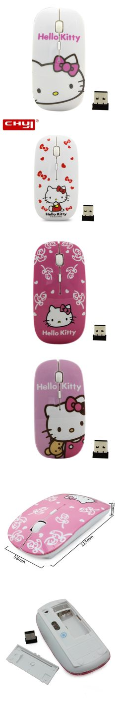 Cartoon Wireless Mouse Hello Kitty Computer Mause Mice 2.4Ghz USB Computer Mouse Cute Girl Pro Game Mice Gift Free Shipping