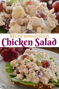 Rotisserie Chicken Salad with Grapes Apples Celery and a tangy greek yogurt lemon dressing. Perfect make ahead chicken salad recipe for sandwiches wraps salads or crackers. Rotisserie Chicken Salad, Chicken Salad Recipes, Chicken Salad Sandwiches, Wrap Sandwiches, Recipes Using Rotisserie Chicken, Salad Chicken, Bbq Chicken, Chicken Salad With Grapes, Sandwich Recipes