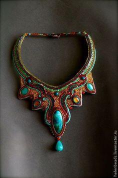 Колье AMIRA - бирюзовый,золотой,красный,восток,восточные мотивы,восточные сказки