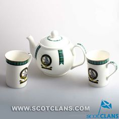 Smith Clan Crest Bone China Teapot and Mugs Set