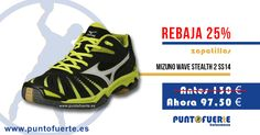 Zapatillas #Mizuno Wave Stealth 2 SS14. ¡Finta al #PuntoFuerte con nuestras ofertas! Las mejores zapatillas de #balonmano al mejor precio #REBAJAS Más información: www.puntofuerte.es