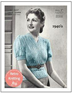 03f3a8adfcc628 1940s Lady s V-Neck Sweater Vintage Knitting Pattern - PDF Knitting Pattern  - PDF Instant Download