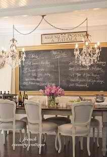 Love this French Country decor and the chalkboard for the daily menu!<3