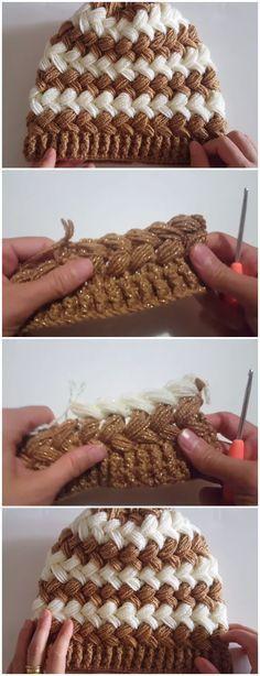 Crochet Beautiful Beanie Hat Cross Puff Stitch