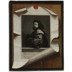 Trompe l'eoil still life of a wooden board with an engraving of Titian's Gentleman in blue secured with a red wax seal by Dutch School (18)
