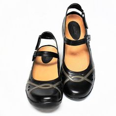 3f25e3b7aaf8 NEW Earth Shoe Womens 7.5 M Pagoda Mary Jane Shoes Black Leather Open Back  Flats