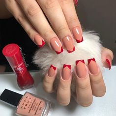 143 glamorous nail design ideas so that tou flaunt your nails with confidence 68 Glam Nails, Nail Manicure, Red Nails, Beauty Nails, Cute Nails, Pretty Nails, Nail Paint Shades, Pearl Nails, Vernis Semi Permanent