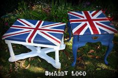 I still love to see the Union Jack on Furniture.  This has a great tutorial on how to achieve this look