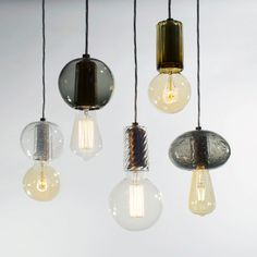 The exposed bulb is given pride of place, while clothing the commonplace socket in a unique, eye-catching way. Shown with a mixture of 6 watt LED bulbs, and watt incandescent bulbs. Ceiling Pendant, Pendant Lighting, Ceiling Lights, Foyer Lighting, Chandelier, Lighting Concepts, Lighting Design, Light Em Up, Creative Lamps