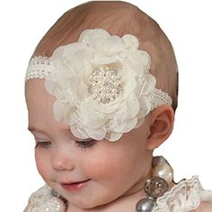 2016 New Girl Lace Pearl Big Flower Headband Wide Band Hairband Head Wrap Elastic Hair Band Accessories Bandeau bebe Shabby Chic Headbands, Baby Flower Headbands, Lace Headbands, Newborn Headbands, Baby Outfits Newborn, Baby Girl Newborn, Headband Baby, Kids Headbands, Toddler Hair Bows