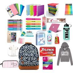 School: Organization, Tips & Advice for Backpack Organization, Diy Organisation, School Organization, School Emergency Kit, School Kit, School Goals, Schul Survival Kits, Middle School Supplies, High School Hacks