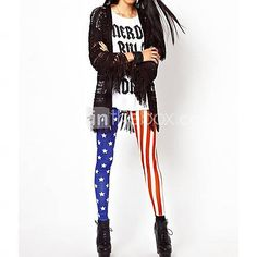 [USD $ 5.39] Women's Stars Stripes American Flag Stretch Skinny Leggings