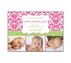 Photo Birth Announcment Baby Girl Hot Pink by SweetSmileDesigns, $15.00