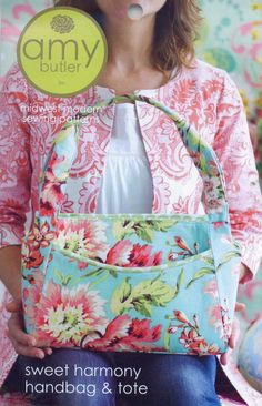 Free Fabric Handbag Patterns | Butler-Sweet Harmony handbag & tote. Great size and style for a purse ...