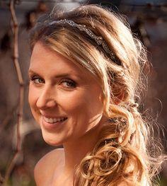 Bridal Rhinestone Headband, Wedding Headband, Beaded, Silk Ribbon, Lovely. $58.00, via Etsy.