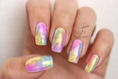 Rainbow Opal Nails - The Shattered Glass Technique Diy Opal Nails, Belleza Diy, Water Color Nails, Nail Art Techniques, Rainbow Opal, Easter Nails, Shattered Glass, Foil Nails, Fabulous Nails
