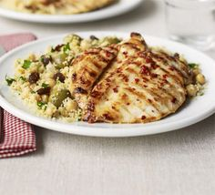 Lemon chicken with fruity olive couscous