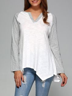 Raglan Sleeve Irregular Hem T-Shirt
