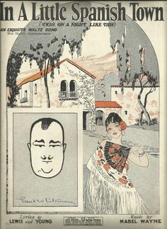 """1926  """" In A Little Spanish Town """" Cords Wall Art Vintage Sheet Music marie2art"""