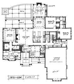 Small Craftsman Conceptual Design 1371: Here's a brand new House Plan on the Drawing Board! Conceptual Design 1371 is small Craftsman plan with open living spaces and a 3-car garage. See it on our #House #Plans #Blog http://houseplansblog.dongardner.com/small-craftsman-conceptual-design-1371/