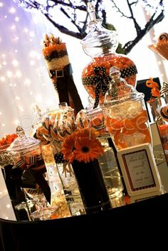 orange and black candy station