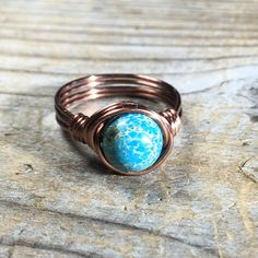 bohemian blue imperial jasper antique copper wire wrapped gemstone ring - size 7.5 , 7 1/2 - turquoise navy aqua women men wrap unisex by MySoulCanDance on Etsy