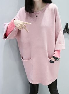 Cotton Solid Long Sleeve Above Knee Casual Dresses