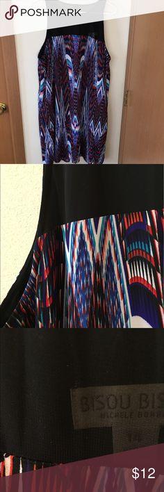 Bisou Bisou Tribal Print Dress Sheer neck// Great with sandals// Worn only once Bisou Bisou Dresses Asymmetrical