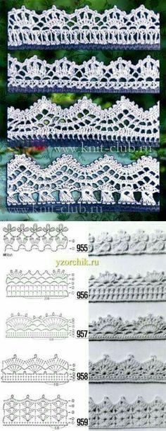 Crochet Patterns Lace edging (no link) Crochet Boarders, Crochet Edging Patterns, Crochet Lace Edging, Crochet Diagram, Crochet Chart, Thread Crochet, Crochet Designs, Crochet Doilies, Crochet Flowers