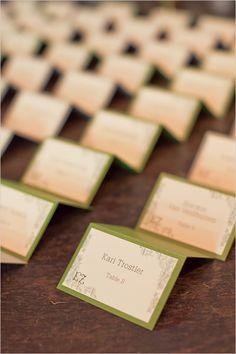 simple and sweet green escort card ideas