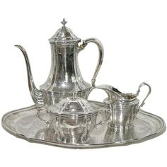 Tiffany Company Sterling Silver Tea Set on Tray ❤ liked on Polyvore featuring home and kitchen & dining