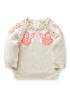 Seed Heritage. Cotton/Acrylic blend Sweater. Features intarsia owls along neckline, front and back. Available in Oatmeal.