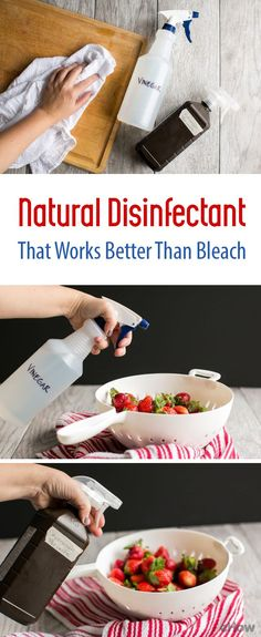 A DIY, homemade natural disinfectant that's better than bleach! Use it on kitchen surfaces or produce without worrying about harmful residue or tainting food. You need just two ingredients! http://www.ehow.com/how_7701565_homemade-natural-disinfectant-cleaner.html?utm_source=pinterest.com&utm_medium=referral&utm_content=freestyle&utm_campaign=fanpage