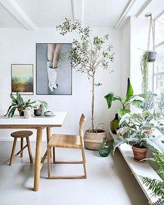 botanisch een lichte ruimte met veel wit en neutrale kleuren wordt al snel een stuk aangenamer door planten! #botanisch #botanical #interieurinspiratie #interieur