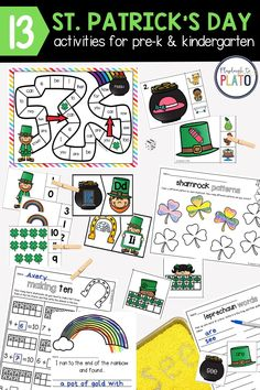 Looking for St. Patrick's Day activities your students will beg to play over and over again?! This print and play pack include 13 motivating ways to teach alphabet letters, word families, sight words, number concepts, graphing, making ten and so much more. The St. Patrick's Day activities are easy to differentiate, making them perfect for pre-K and kindergarten! St Patrick Day Activities, Spring Activities, Reading Activities, Kindergarten Lesson Plans, Kindergarten Centers, Differentiation Strategies, Playdough To Plato, Making Ten, Teaching The Alphabet