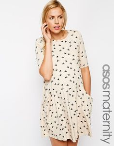 ASOS Maternity | ASOS Maternity Swing Dress With Pockets In Bird Print With Half Sleeve at ASOS