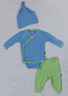 Lattice Kimono Baby Gift Set In Teal By Kickee Pants