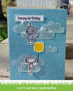 Lawn Fawn - Beep Boop Birthday + coordinating dies, Spring Showers Lawn Cuts, Hello Sunshine 6x6 paper _ by Lynnette for Lawn Fawn Design Team