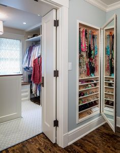 These home organization ideas from HouseLogic will give you clever storage ideas that work great for small houses (and larger ones, too! Amazing what clever storage ideas you can find in your own home. Closet Storage, Entryway Storage, Home Organization, Closet Designs, Jewellery Storage, Storage House, Clever Storage, Bedroom Storage, Small House Storage
