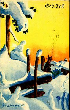 Julekort AUKRUST. Julekort med ekorn i soloppgang utg J.H.Küenholdt. A/S. Stemplet 1922,