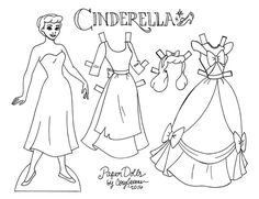 Cinderella line art paper doll to color, by Cory Jensen (1 of 3)