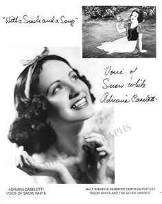20 Fascinating Facts about Snow White and the Seven Dwarfs: Adriana Caselotti voiced Snow White. Walt wanted to keep Snow White's voice special, so he held Adriana to a very strict contract and she was never allowed to perform on stage or film again. Disney Love, Disney Magic, Disney Stars, Movie Facts, Fun Facts, Evil Person, Walt Disney Animation, Seven Dwarfs, Disney Facts