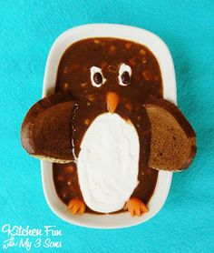 Penguin Black Bean Soup - Kitchen Fun With My 3 Sons Food Art For Kids, Cooking With Kids, Cute Food, Good Food, Yummy Food, Food Themes, Food Ideas, Bento Ideas, Meal Ideas