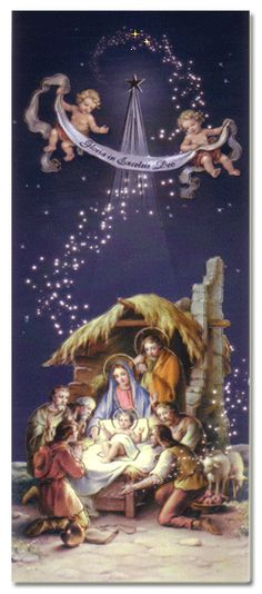Christmas Nativity Cardboard Cutout - Illustrated by Dona Gelsinger 1864 Merry Christmas Gif, Christmas Scenery, Christmas Nativity Scene, Vintage Christmas Cards, Christmas Pictures, Christmas Art, Christmas Greetings, Christmas Postcards, Mary And Jesus