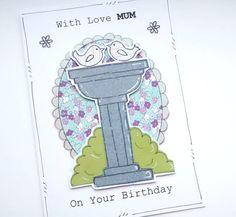 Birthday Card  Bird Bath  Personalised  by CraftyMushroomCards