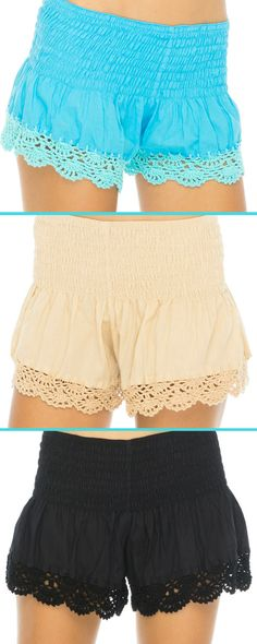 Short and sweet! These cute summer shorts do so much more than just show off your legs. Pretty hand-crocheted lace at the hem adds a feminine touch, while the extra-wide elastic waist is ultra comfy and kind to your figure. #shortshorts