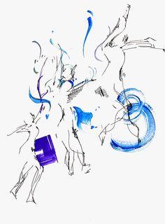 춤추는 사람/ 펜 수채화 색연필