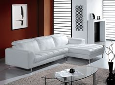 Inali White Leather Sectional Sofa