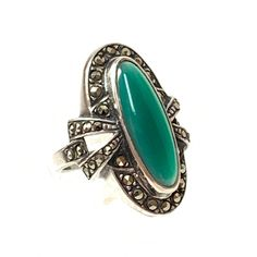 Natural Vintage Style Chalcedony faceted Setting Handmade 925 silver Plated Ring Jewelry Y1657